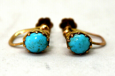 Antique 9K Solid Yellow Gold and Natural Turquoise Screw Back Earrings