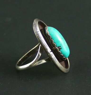 N9 fine NAVAJO Turquoise*Shadow Box*Türkis Ring Sterling Silver 925