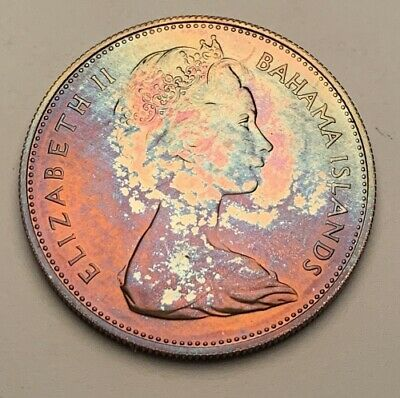 1969 Bahamas Silver Proof One Dollar Bu Unc Color Toned Coin