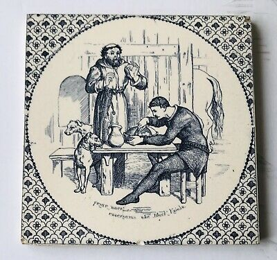 "Wedgwood Tile 8.25"" X 8.25"" Entitled ""Friar Tuck Entertains The Black Knight """
