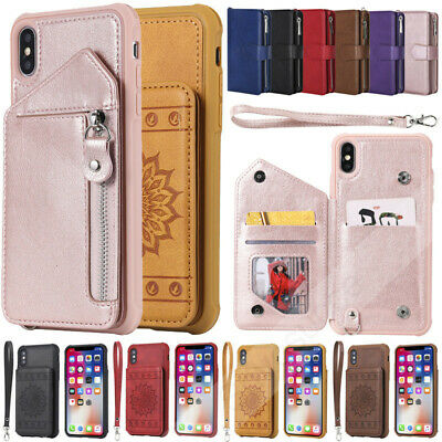 Luxury Leather Card Wallet Case Shockproof Back Cover for iPhone X XR XS 8 Plus