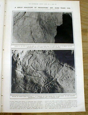 1923 illustrated newspaper Prehistoric art CAVE PAINTINGS discov SOUTHERN FRANCE