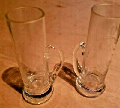 2 Vintage Etched Flower on Glass Shot Glass With Finger Handle  Beautifully Etch