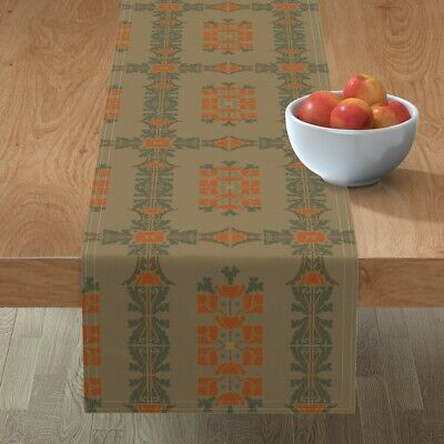 Table Runner Victorian Arts And Crafts 2A Victorian Brown Vintage Cotton Sateen