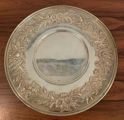 """S. Kirk & Son Sterling Silver Repousse Plate #727 No Monos 10"""""""