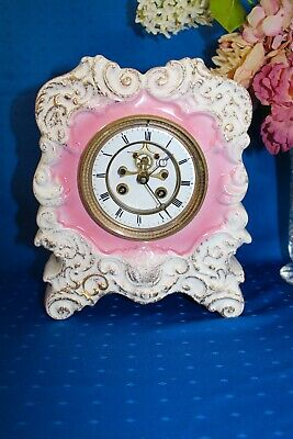 Antique French S. Marti Porcelain Mantel Clock Time and Strike 19th Century
