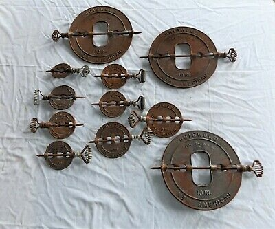 Assortment of 11 Vintage Griswold New American cast Iron Stove Pipe Flue Dampers