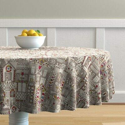 Round Tablecloth Gumdrop Houses Winter Holiday Christmas Sweet Cotton Sateen