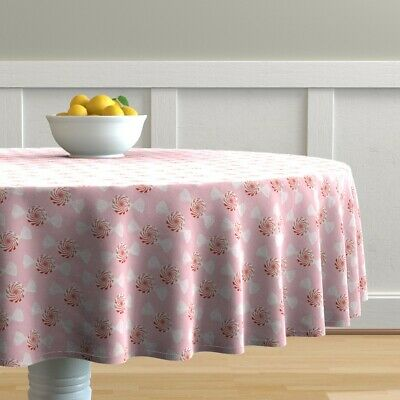 Round Tablecloth Holiday Christmas Sweets Baby Girl Mint Candy Fun Cotton Sateen