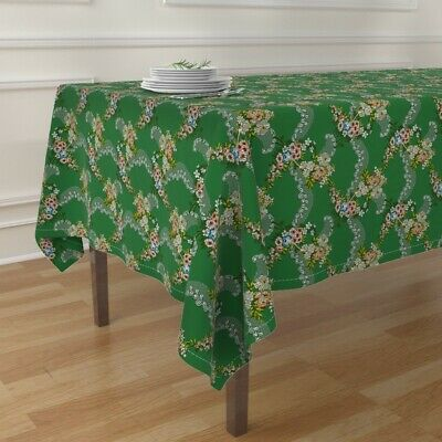 Tablecloth Rococo Historical Lace Georgian Green Floral Cotton Sateen