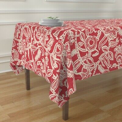 Tablecloth Floral Linen Texture Traditional Leaves Cream Lace Cotton Sateen