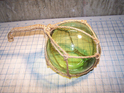 """Reproduction Glass Float Ball With Fishing Net Japanese Fishing Float 7"""""""