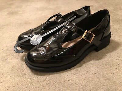 New Look 915 Generation Black Patent Buckle shoes size 2 BNWT SCHOOL SHOES