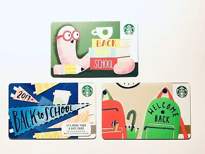 3 Starbucks BACK TO SCHOOL Lot 2019 2018 2017 Gift Cards