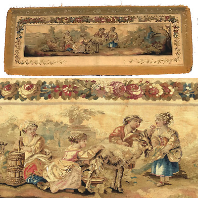 """RARE 55.5"""" Long Antique French Aubusson Tapestry Fragment, Sofa Panel, Figural"""