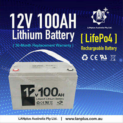 New 12V 100Ah Lithium LiFePO4 Deep Cycle Rechargeable Battery Solar 4WD Caravan