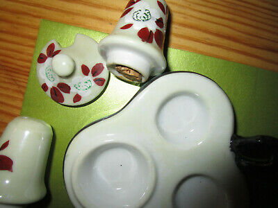 "Art Deco Noritake Rare ,Hand Painted"" Lustre Ware Condiment Set  Made In Japan"