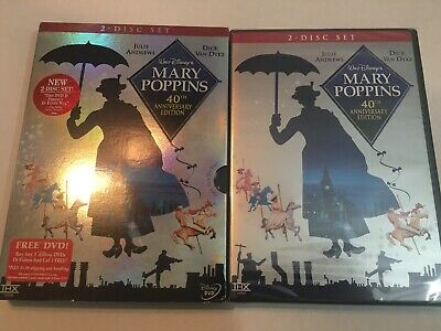 Mary Poppins DVD 40th Anniversary Two-Disc Set Brand New Authentic Stamp Slip