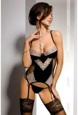 Marica Straps Corset Corsage in Stretch-Material, edler Spitze, Tüll