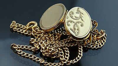 beautiful Victorian antique G.F Necklace Pendant picture locket Watch chain Fob