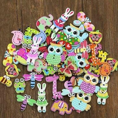 Lots 50Pc Mixed Bulk Animal Wooden Sewing Buttons Scrapbook Craft 2 DIY Hol I6Q9