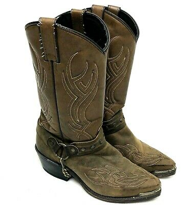 e554e4355ef SAGE BY ABILENE Men's Distressed Brown Harness Western Cowboy Boots ...