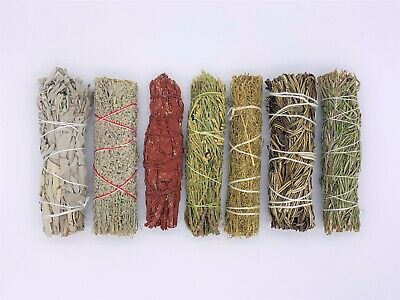 7X Sage Smudge Stick Kit: White, Blue, Dragons Blood, Cedar, Rosemary, Desert