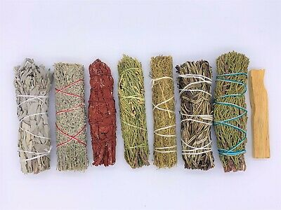 8X Sage Smudge Stick Kit: White, Blue, Dragons Blood, Cedar, Palo Santo, Juni...