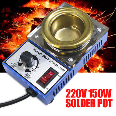 150W 200-450°C Solder Pot Soldering Desoldering Bath Stainless Steel Plate UK