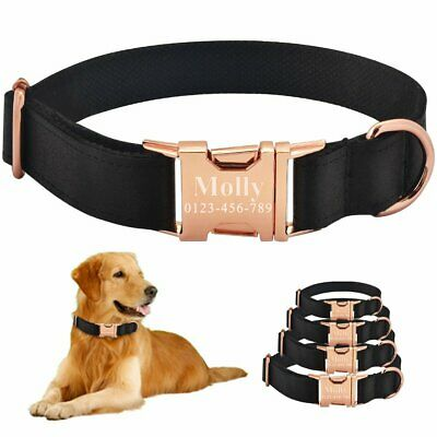 Dog Collar Personalized Black Fabric Free Engraved ID Name Puppy Metal Buckle XS