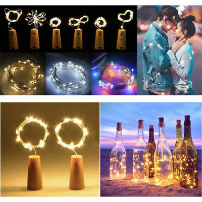 1-12X 20LED Copper Cork Wine Bottle Fairy Light Starry Night Wedding Xmas Party
