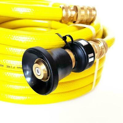 FIRE FIGHTING REEL YELLOW HOSE 20mm 3/4 x 20m COIL FITTED BRASS NOZZLE SAFETY