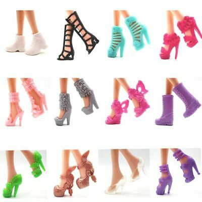 12 Pairs Doll Shoes Fashion Cute Heels Colorful  Accessories Mix Assorted Barbie