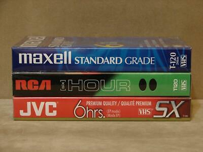 Brand New- JVC T-120 DU RCA T-120 Maxell T-120 VHS Tape Lot Of 3 6 Hours Each