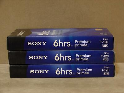 New- Sony T-120 Premium VHS Tape Lot Of 3 6 Hours Each