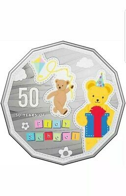 2016 50 Years Play School Big Ted and Little Ted 50 cents coloured UNC Coin RAM