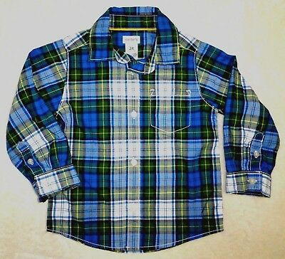 NWT CARTERS Baby Toddler Boys Long Sleeve Button Down Shirt BLUE Plaid 24 Months