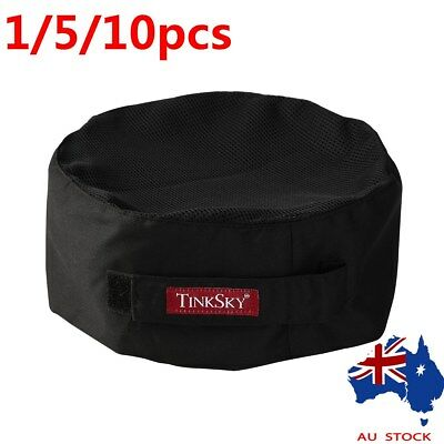 TINKSKY 1/5/10 Professional Catering Top Skull Cap Chefs Hat w/ Adjustable Strap