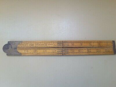 Vintage Boxwood Rabone Wooden Folding Ruler 3 Ft