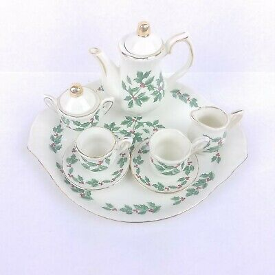 Formalities Holiday Miniature Tea Set w/ Tray Baum Brothers Holly Berry 10Pc Vtg