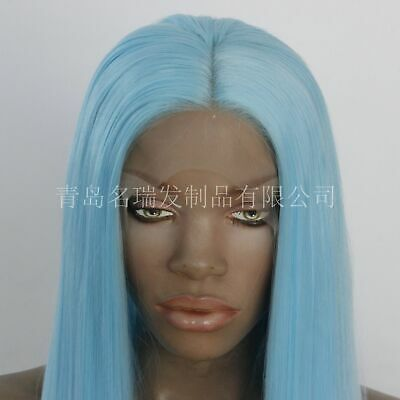 """AU 24"""" Handtied Synthetic Hair Sky Blue Straight Lace Front Wig Full Head"""