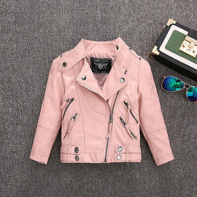 Kids Girls Pu leather jackets Boys Winter Leather Coats Children Solid Outerwear