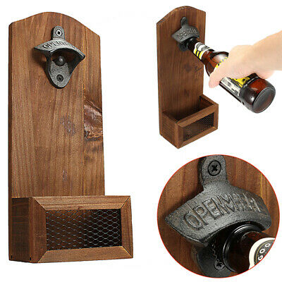 1PC VINTAGE CAST IRON WALL MOUNTED BEER BOTTLE OPENER ANTIQUE OLD STYLE u4b