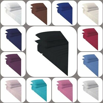 """Non Iron Percale Extra Deep Fitted Sheet 16""""/40CM Polycotton Pair of Pillow Case"""