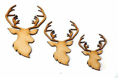 Wooden MDF Stag Male Deer Animal Shapes Bunting Craft Embellishments Decorations
