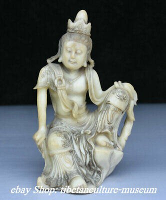 7cm Old Chinese Natural White Shoushan Stone Carving Flower Kwan-Yin Sculpture