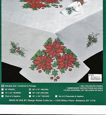 """Christmas Poinsettias"" tablecloth KIT to cross stitch.Stamped.115 x 170cm! SALE"
