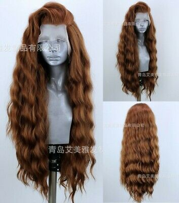 """AU 24"""" Synthetic Fiber Hair Long Curly Wavy Light Brown Lace Front Wig Fashion"""