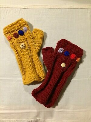 Handknitted Infinity Gauntlet style fingerless gloves in red and yellow