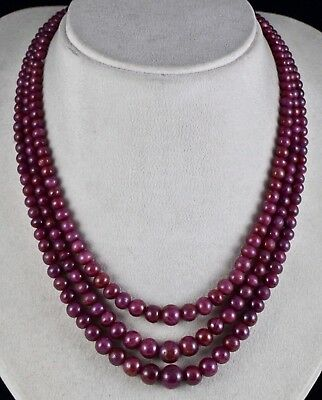 Fine Red Natural Untreated Ruby Beads Round 3 Line 528 Carats Gemstone Necklace